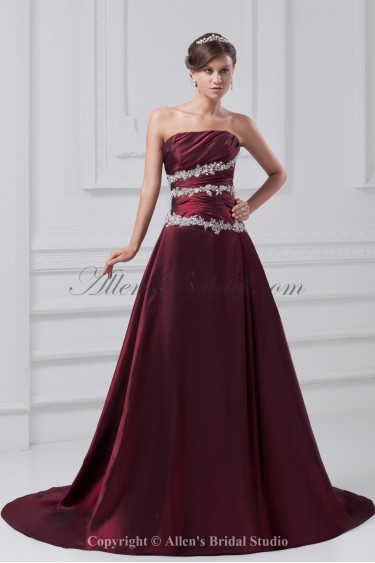 Taffeta Strapless Neckline Sweep Train A-line Embroidered Prom Dress