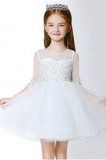 Long Sleeve Lace A-line Flower Girl Dress