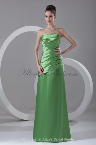 Satin Strapless Neckline Floor Length A-line Directionally Ruched Prom Dress