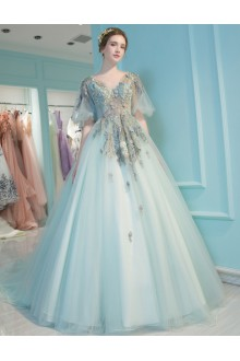 A-line V-neck Tulle Prom / Formal Evening / Quinceanera / Sweet 18 Dress with Embroidery