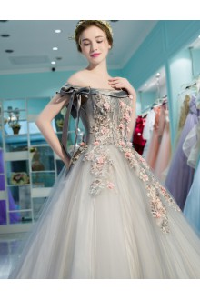 Ball Gown Off-the-shoulder Tulle Prom / Formal Evening / Quinceanera / Sweet 18 Dress with Flower(s)
