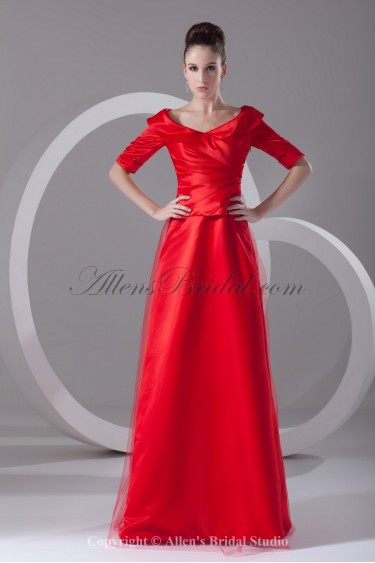 Satin and Net Portrait Neckline Floor Length A-line Half-Sleeves Prom Dress