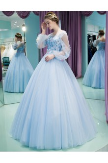 Ball Gown Scoop Tulle Prom / Formal Evening / Quinceanera / Sweet 18 Dress with Embroidery