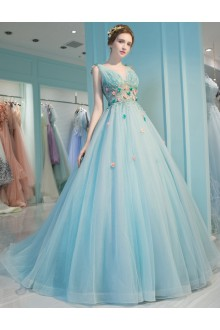 Ball Gown V-neck Tulle Prom / Formal Evening / Quinceanera / Sweet 18 Dress with Flower(s)