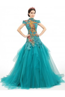 Ball Gown High Neck Prom / Formal Evening / Quinceanera / Sweet 18 Dress with Embroidery
