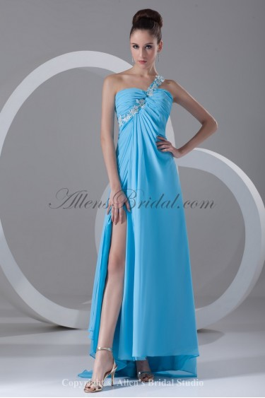 Chiffon One-shoulder Sweep Train Column Prom Dress with Embroidered