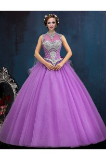 Ball Gown High Neck Prom / Formal Evening / Quinceanera / Sweet 18 Dress with Crystal