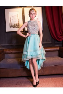 A-line Jewel Cocktail Party Dress with Beading