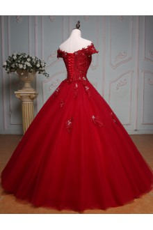 Ball Gown Off-the-shoulder Prom / Formal Evening / Quinceanera / Sweet 18 Dress with Crystal