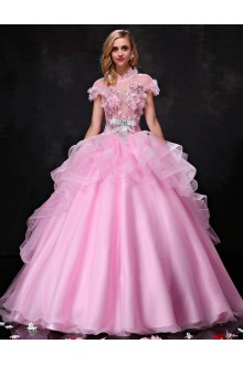 Ball Gown High Neck Organza Prom / Formal Evening / Quinceanera / Sweet 18 Dress with Embroidery