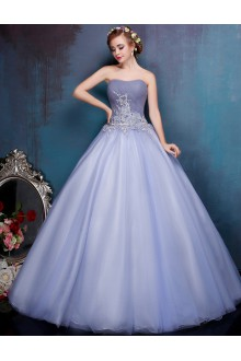 Ball Gown Strapless Tulle Prom / Formal Evening / Quinceanera / Sweet 18 Dress with Flower(s)