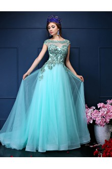 A-line Scoop Prom / Formal Evening Dress with Crystal