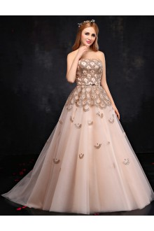 A-line Strapless Prom / Formal Evening Dress with Crystal
