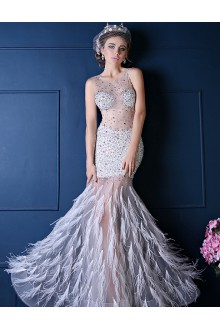 Trumpet / Mermaid Scoop Prom / Formal Evening Dress with Crystal
