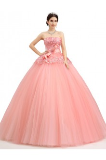 Ball Gown Strapless Tulle Prom / Formal Evening / Quinceanera / Sweet 18 Dress with Pearl