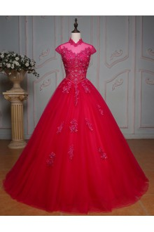 Ball Gown High Neck Prom / Formal Evening Dress with Beading