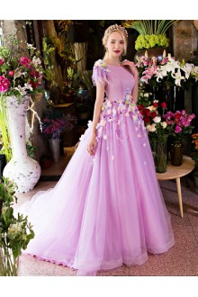 Ball Gown Scoop Prom / Formal Evening Dress with Flower(s)