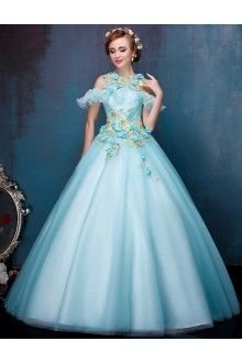 Ball Gown Jewel Tulle Prom / Formal Evening / Quinceanera / Sweet 18 Dress with Beading