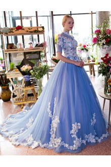 Ball Gown High Neck Prom / Formal Evening Dress with Flower(s)