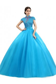 Ball Gown High Neck Prom / Formal Evening Dress with Crystal