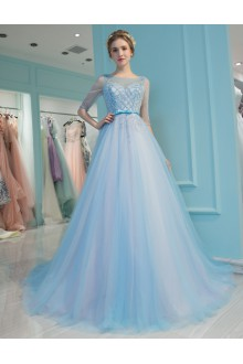A-line Scoop Tulle:Tulle Prom / Formal Evening Dress with Pearl