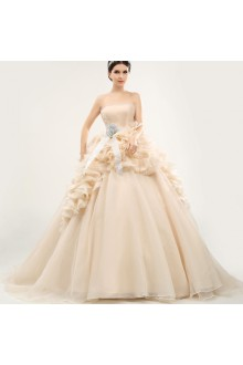 Ball Gown Strapless Tulle Prom / Formal Evening / Quinceanera / Sweet 18 Dress with Crystal
