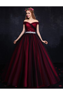 Ball Gown Off-the-shoulder Prom / Formal Evening Dress with Crystal