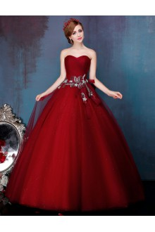 Ball Gown Strapless Tulle Prom / Formal Evening Dress with Pearl