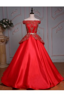 Ball Gown Off-the-shoulder Satin Prom / Formal Evening Dress with Beading