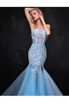 Trumpet / Mermaid Strapless Prom / Formal Evening Dress with Flower(s)