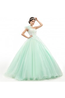 Ball Gown One Shoulder Prom / Formal Evening / Quinceanera / Sweet 18 Dress with Flower(s)