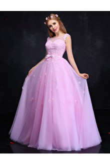 A-line Scoop Prom / Formal Evening Dress with Flower(s)