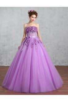 Ball Gown Strapless Organza Prom / Formal Evening / Quinceanera / Sweet 18 Dress with Flower(s)