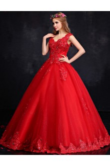 Ball Gown V-neck Lace Prom / Formal Evening Dress with Sequins