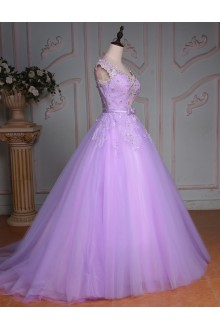 Ball Gown V-neck Prom / Formal Evening Dress with Beading