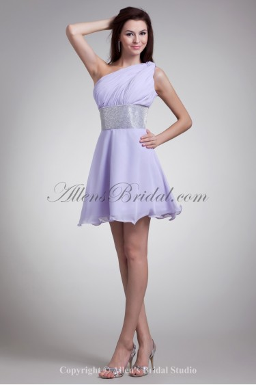 Chiffon One-Shoulder Neckline Short A-Line Rhinestones Cocktail Dress