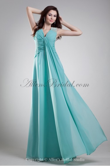 Chiffon V-Neck Floor Length Column Ruffle Prom Dress