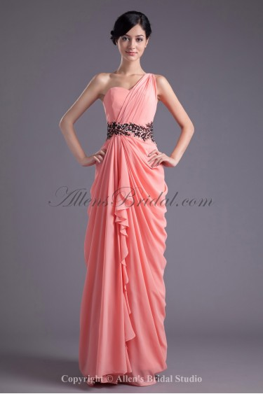 Chiffon One-Shoulder Neckline Column Floor Length Sequins Prom Dress