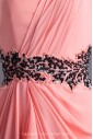 Chiffon Asymmetrical Neckline Column Floor Length Sequins Prom Dress