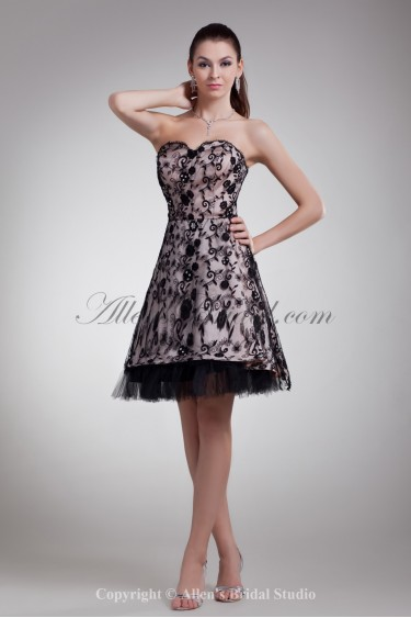 Lace Sweetheart Neckline Knee Length A-line Cocktail Dress