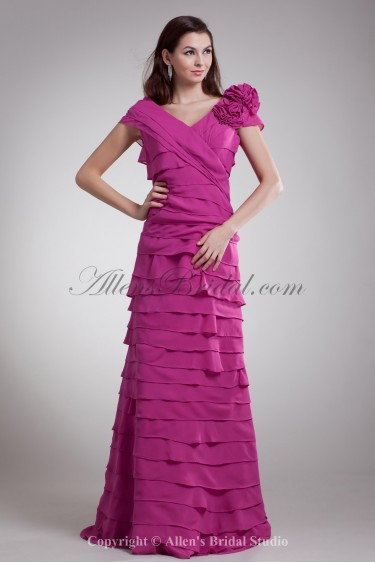Chiffon V-Neck Floor Length A-Line Ruched Prom Dress