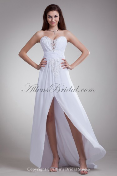 Chiffon Sweetheart Neckline Asymmetrical A-line Embroidered Prom Dress