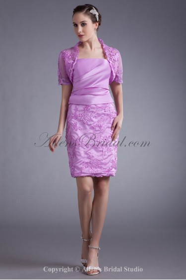 Satin Strapless Short Sheath Embroidered Cocktail Dress with Jacket