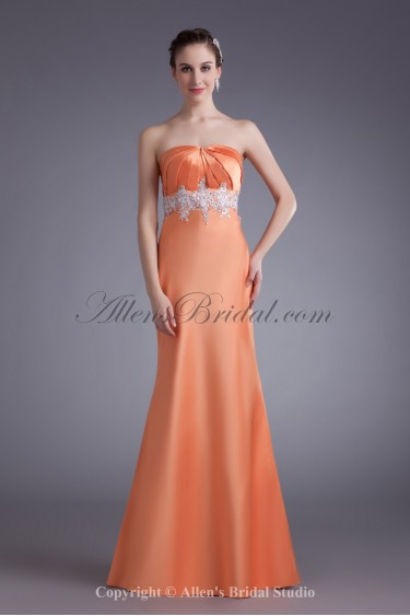 Satin Strapless Neckline Floor Length Sheath Embroidered Prom Dress
