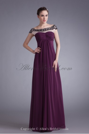 Chiffon Bateau Neckline Floor Length Column Prom Dress