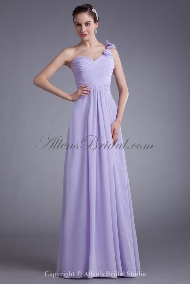 Chiffon One-Shoulder Neckline Floor Length Column Bow Prom Dress