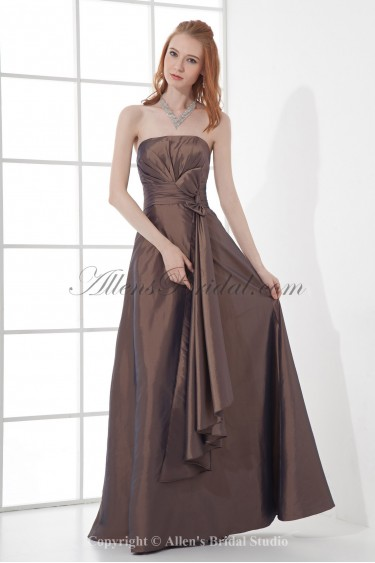 Taffeta Strapless A-Line Floor Length Ruched Prom Dress