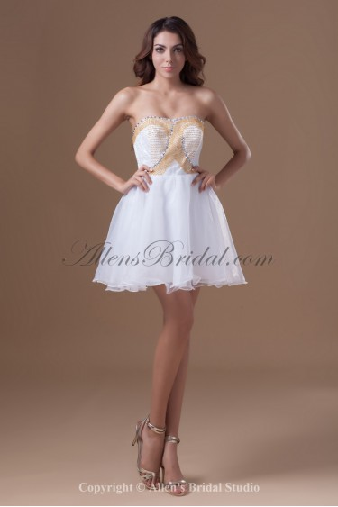 Organza Strapless Short A-line Beading Cocktail Dress