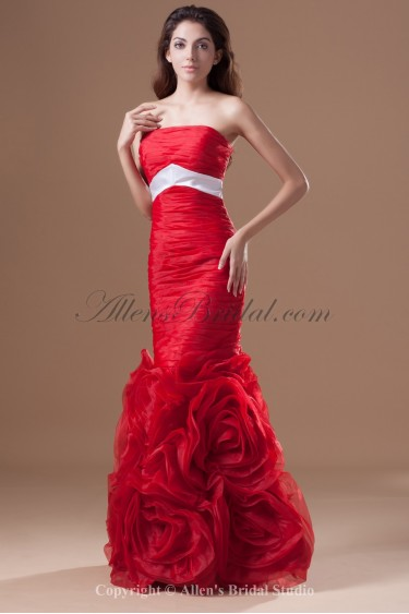Taffeta Strapless Floor Length Sheath Directionally Ruched Prom Dress