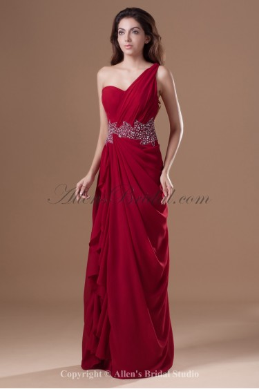 Chiffon One-Shoulder Neckline Floor Length Column Crystals Prom Dress
